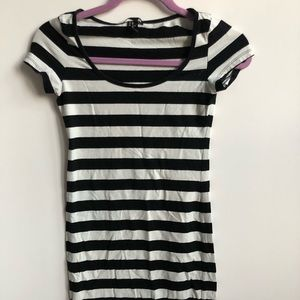 Black and White Striped Dress with Cap Sleeves